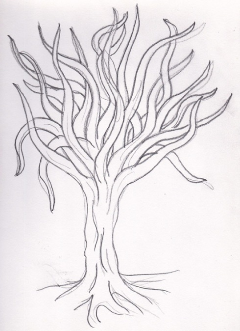 A primative drawing to say the least, but in my defense: it's pretty difficult to make a tree interesting when you've only given yourself 5 to 10 minutes to do a quick drawing.