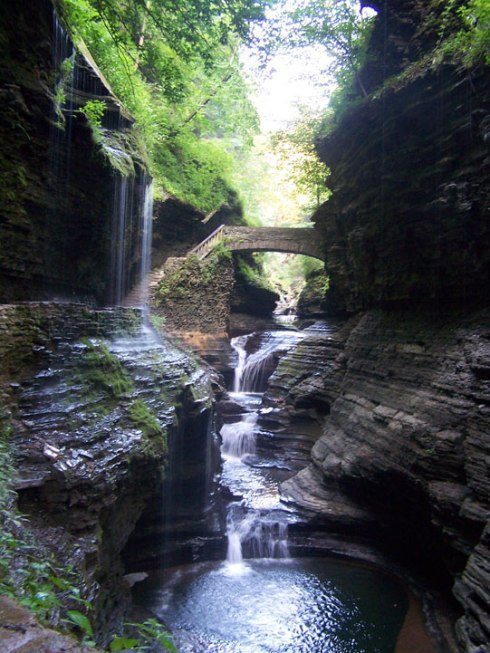 The river inside the gorge in Watkins Glen, NY