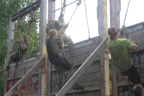 Balls to the Wall - Another easy one. Use the rope to climb up the wall and down the other side--standard obstacle course fare. Add another 10 or 15 feet and this would be a badass obstacle.
